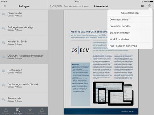 Die App für iOS oder Android ermöglicht der Zugang zu enaio® auch auf Reisen, Kundentermine, Serviceeinsätze.