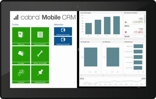 Mobile und Tablet CRM Dashboard von cobra